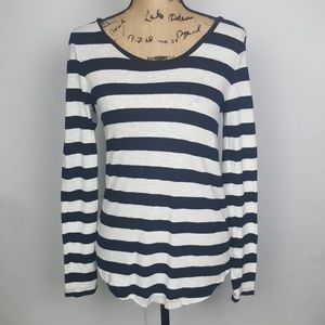 ❤Loft | S Long Sleeve Dark Navy and White Shirt